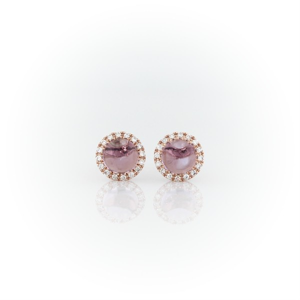Petite Amethyst Cabochon Earrings with Diamond Halo in 14k Rose Gold (5mm)