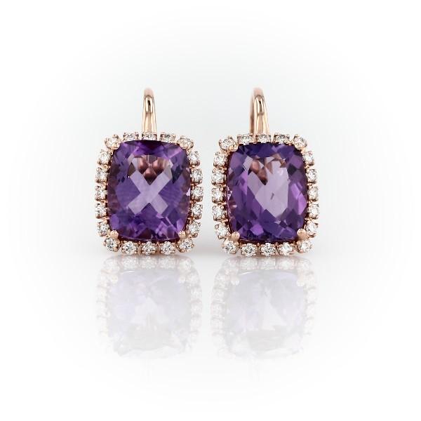 Cushion-Cut Amethyst and Diamond Halo Huggie Hoop Earrings in 14k Rose Gold (10x8mm)