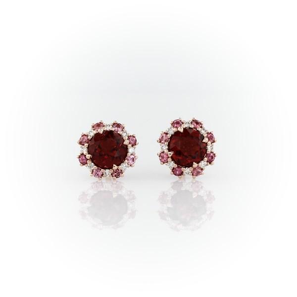 14k 玫瑰金粉紅碧璽與鑽石光環石榴石耳環(5毫米)