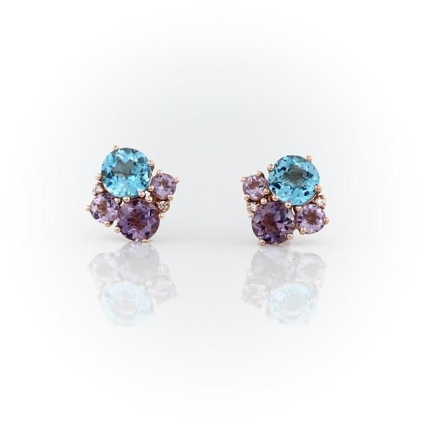 14k 玫瑰金 紫水晶與藍色托帕石群簇釘款耳環搭鑽石裝飾