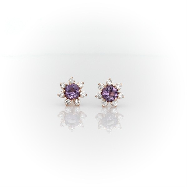 Mini Amethyst Earrings with Diamond Blossom Halo in 14k Rose Gold (3.5mm)