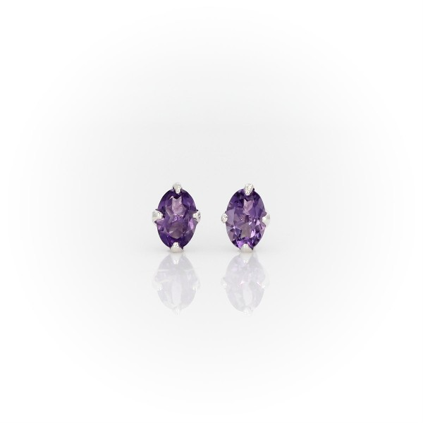 Oval Amethyst Stud Earrings in Sterling Silver (6x4mm)