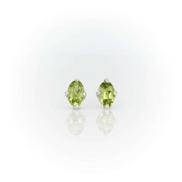 Oval Peridot Stud Earrings in Sterling Silver (6x4mm)