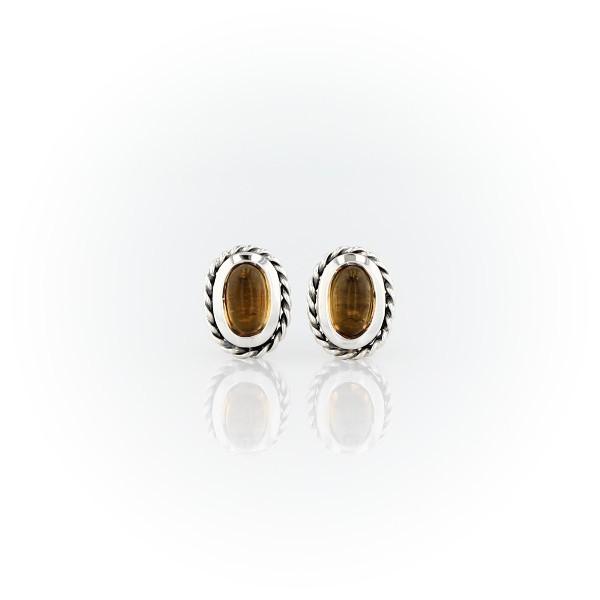 925 純銀小巧黃水晶繩索光環釘款耳環(5x3毫米)
