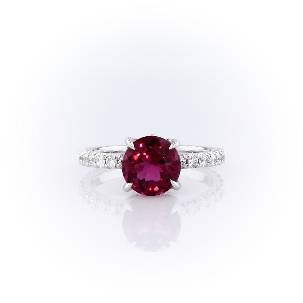 Rubelite Pink Tourmaline and Diamond Crown Ring in 18k White Gold (8mm)