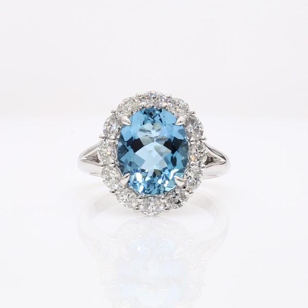 18k 白金海藍寶石鑽石戒指(3.12 克拉主石)