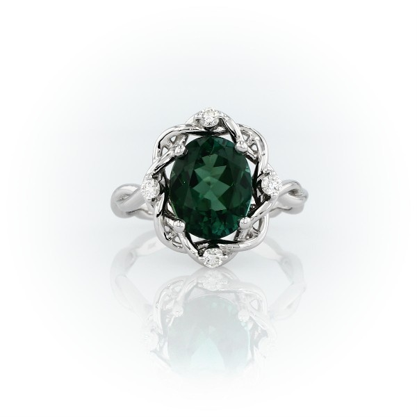 Oval-Cut Green Tourmaline and Diamond Weave Ring in 18k White Gold (10x8mm)