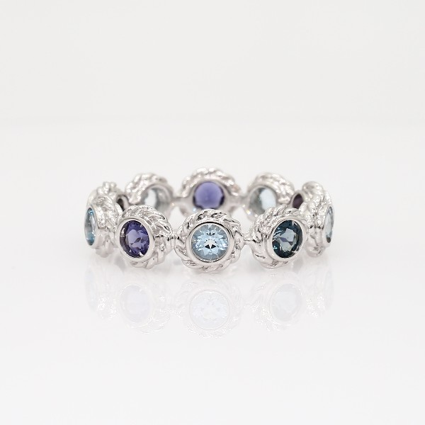 multi gemstone eternity confetti ring in 14k white gold