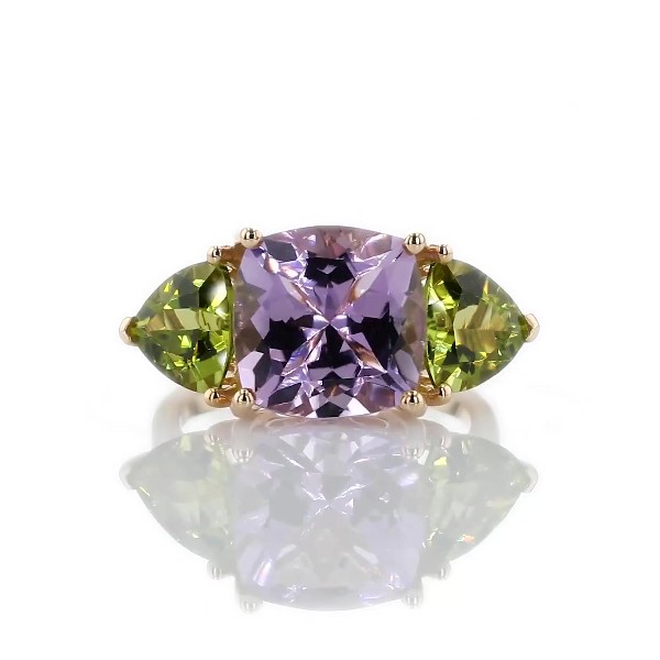 Cushion Rose de France Amethyst and Peridot Trillion Ring in 14k Yellow Gold