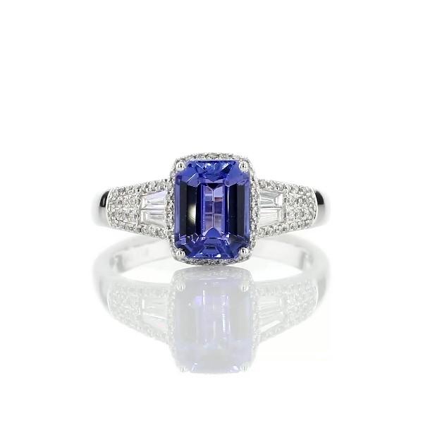 Emerald Cut Tanzanite Ring with Diamond Baguette Sidestones in 14k White Gold