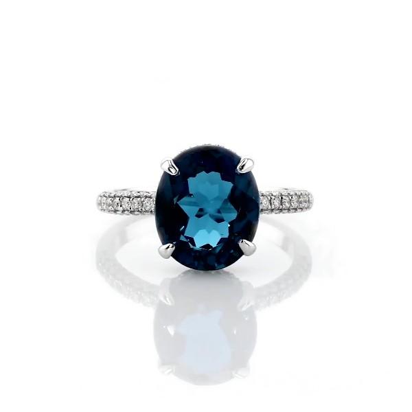 14k 白金橢圓形倫敦藍托帕石個性戒指