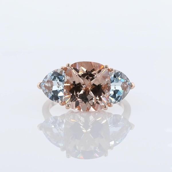 Cushion Morganite & Trillion Aquamarine Ring 14k Rose Gold