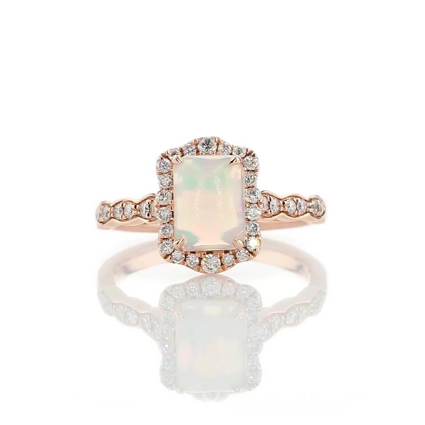 Emerald Cut Opal Ring with Diamond Halo in 14k Rose Gold