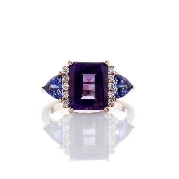 14k 玫瑰金紫水晶與坦桑石鑽石大教堂戒指