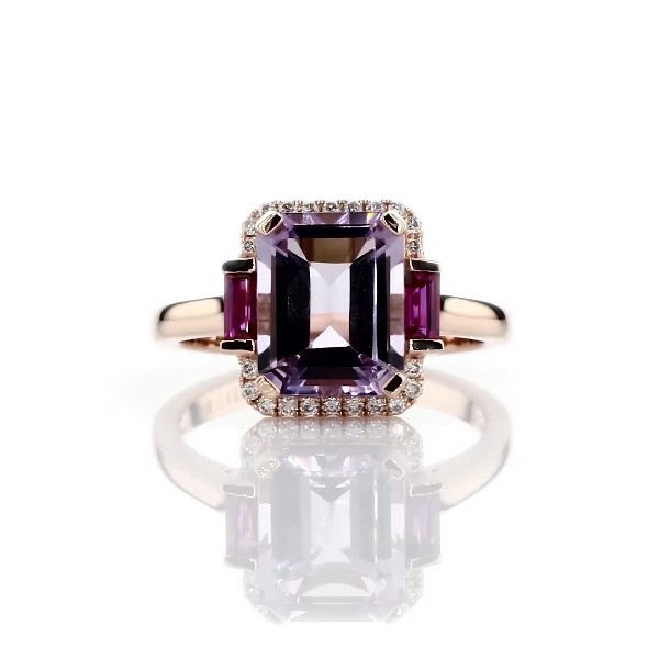 Rose de France Amethyst and Ruby Octagon Ring in 14k Rose Gold