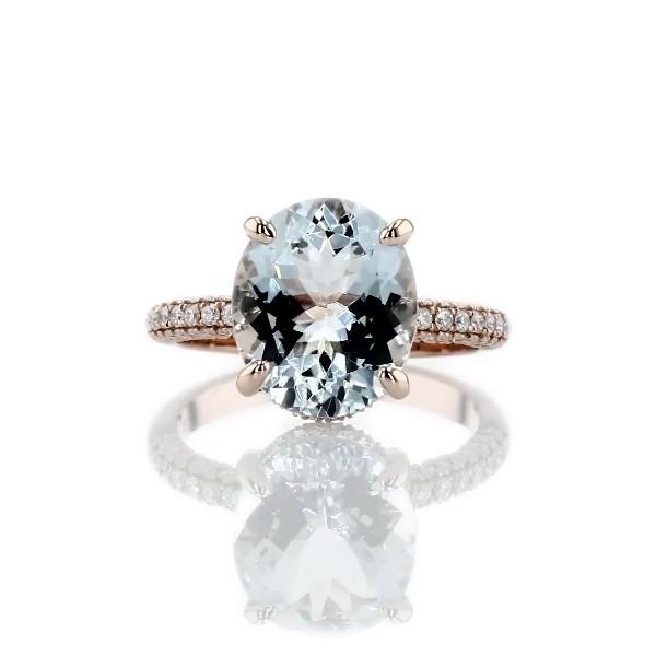 14k 玫瑰金椭圆形海蓝宝石宣言戒指