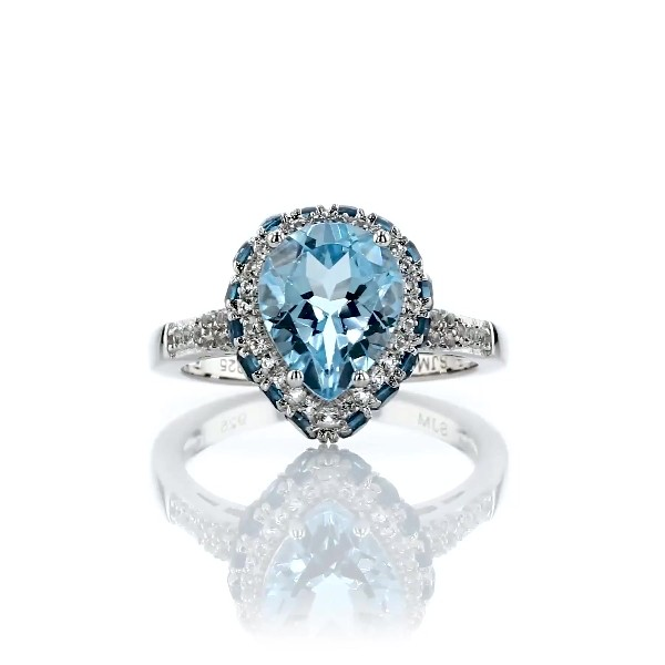 Pear Shaped Sky Blue Topaz Ring in Sterling Silver