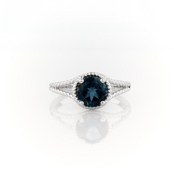925 纯银伦敦蓝托帕石绳状戒指(7毫米)