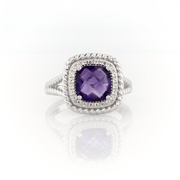 925 纯银 Corda 垫形切割紫水晶光环戒指(8毫米)