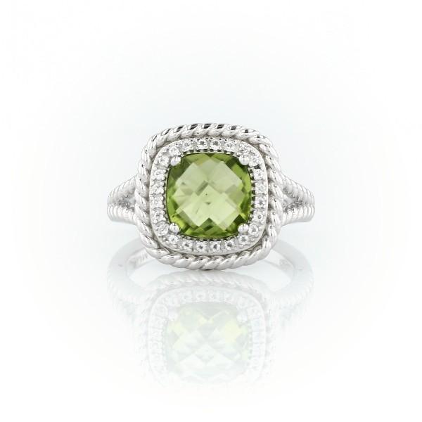 925 纯银 Corda 垫形切割橄榄石光环戒指(8毫米)