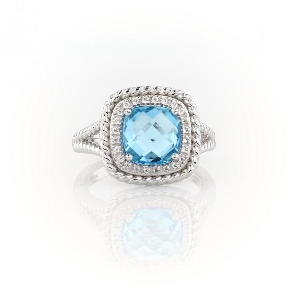 925 纯银 Corda 垫形切割瑞士蓝托帕石光环戒指<br>(8毫米)