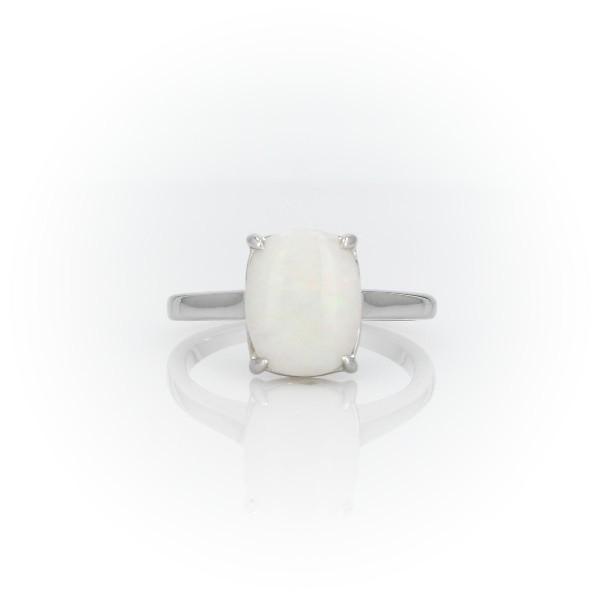 14k 白金蛋白石垫形鸡尾酒戒指<br>(10x8毫米)