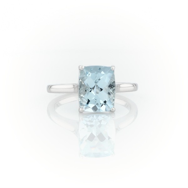 Aquamarine Cushion Cocktail Ring in 14k White Gold (10x8mm)