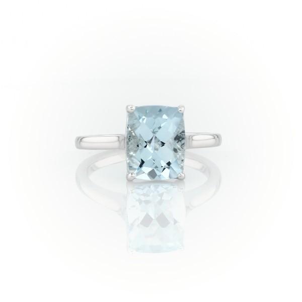 14k 白金海藍寶石墊形酒會戒指(10x8毫米)