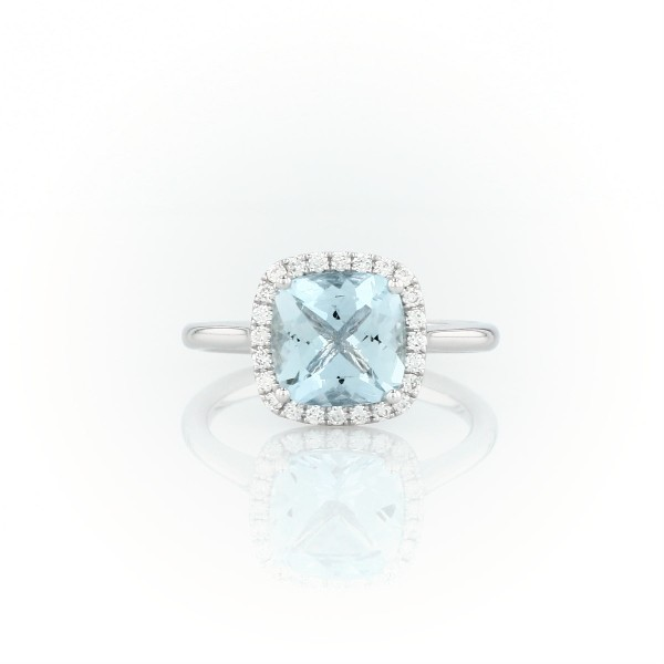 Bague halo diamant et aigue-marine en or blanc 14 carats (8 x 8 mm)