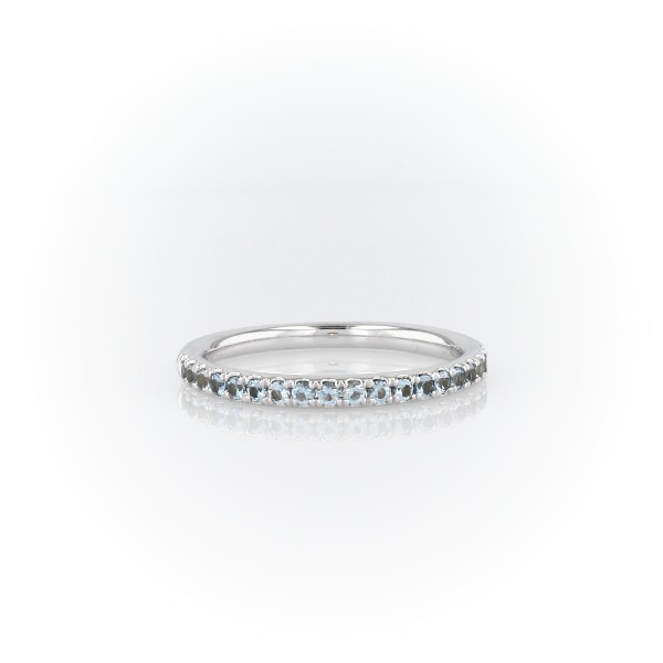 Riviera Pavé Aquamarine Ring in 14k White Gold (1.5mm)