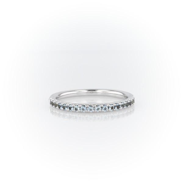 14k 白金 Riviera 密钉海蓝宝石戒指<br>(1.5毫米)