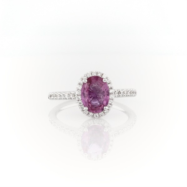 Pink Sapphire and Micropavé Diamond Halo Ring in 14k White Gold (8x6mm)