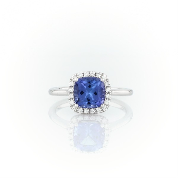 Tanzanite Cushion and Diamond Halo Ring in 14k White Gold (7x7mm)