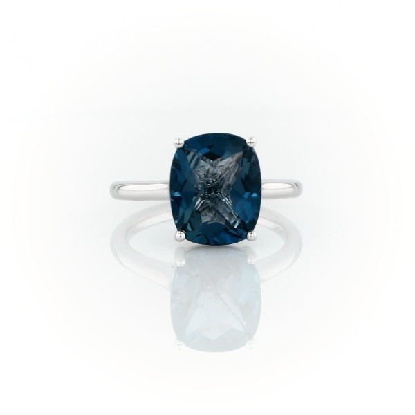 London Blue Topaz Cushion Cocktail Ring in 14k White Gold (11x9mm)