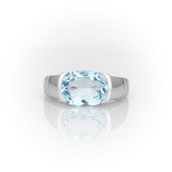 Semi-Bezel Oval Blue Topaz Fashion Ring in 14k White Gold (11x8mm)