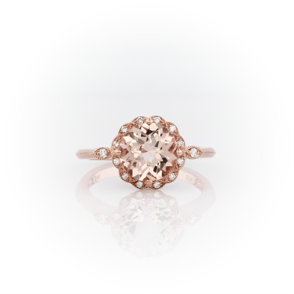 Morganite and Diamond Milgrain Halo Ring in 14k Rose Gold (8mm)