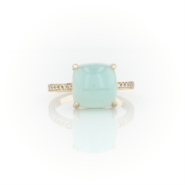 Cushion Cut Green Chalcedony Cabochon Ring with Diamond Sidestones in 14k Yellow Gold (10mm)
