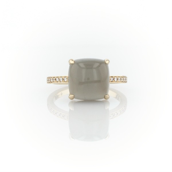 Cushion Cut Gray Moonstone Cabochon Ring with Diamond Sidestones in 14k Yellow Gold (10mm)
