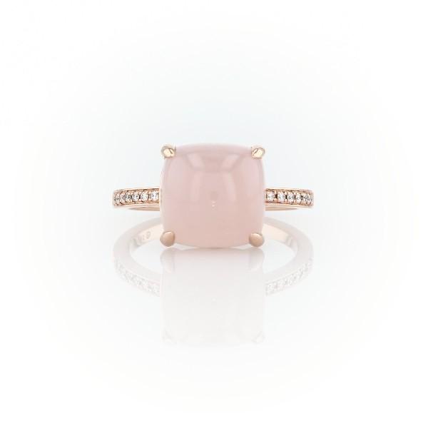 14k 玫瑰金墊形切割粉紅瑪瑙磨光凸圓形寶石搭鑽石輔石戒指(10毫米)
