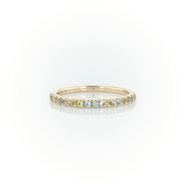 Petite Blue Topaz, Sky Blue Topaz and Peridot Ring in 14k Yellow Gold (1.5mm)