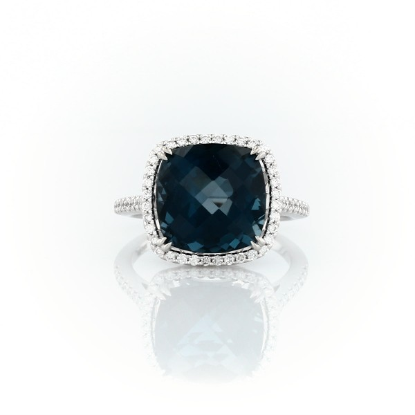 Cushion-Cut London Blue Topaz Diamond Halo Cocktail Ring in 14k White Gold (10.5mm)