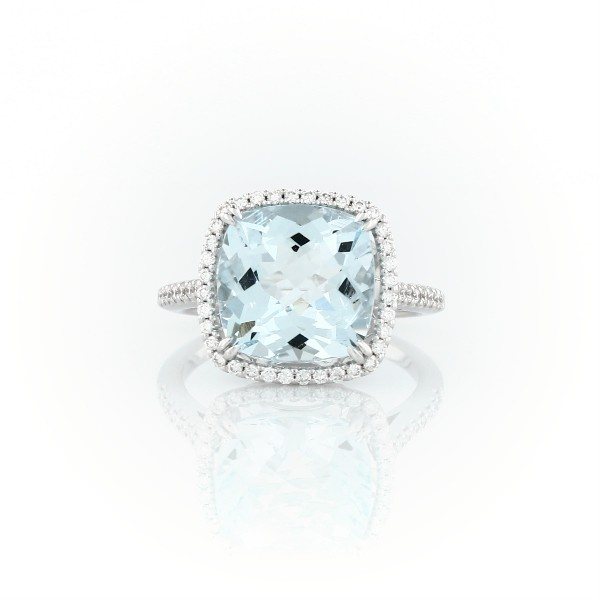 Cushion-Cut Aquamarine Diamond Halo Cocktail Ring in 14k White Gold (10.5mm)