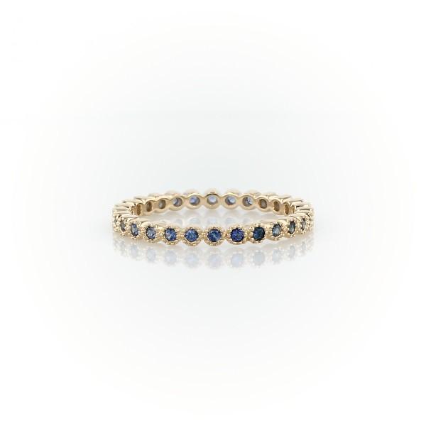14k 金蓝宝石永恒戒指(1.3毫米)