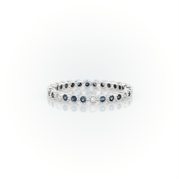 Sapphire and Diamond Eternity Stacking Ring in 14k White Gold (1.3mm )