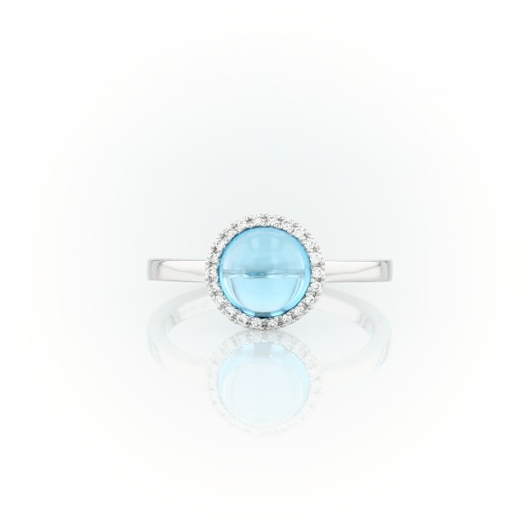 Petite Round Swiss Blue Topaz Cabochon Ring with Diamond Halo in 14k White Gold (7mm)