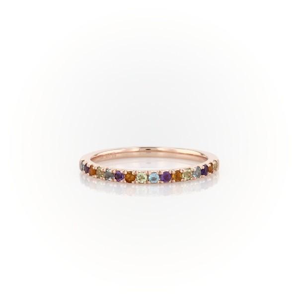 14k 玫瑰金多寶石密釘戒指(1.5毫米)