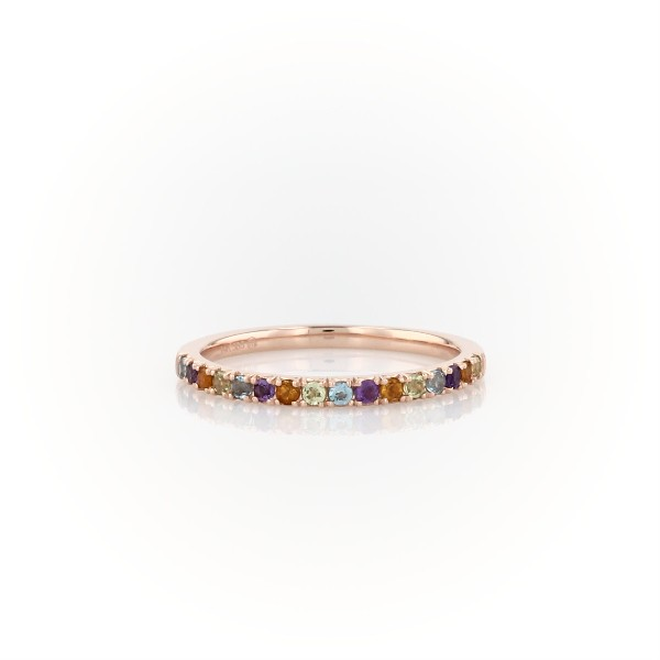 Multi-Gemstone Pavé Ring in 14k Rose Gold (1.5mm)