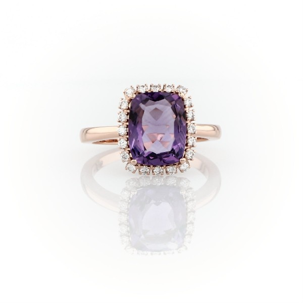 Cushion-Cut Amethyst and Diamond Halo Ring in 14k Rose Gold (10x8mm)