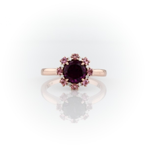 Garnet Ring with Pink Tourmaline and Diamond Halo in 14k Rose Gold (6mm)