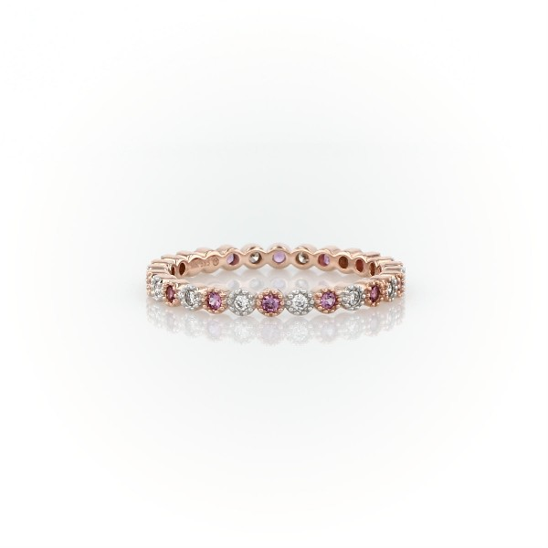 Pink Sapphire and Diamond Eternity Ring in 14k Rose Gold (1.3mm)